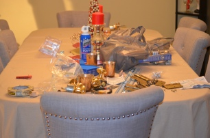 This was our dining room table at its best mid-project