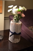 I wrapped book pages around a flower vase to add some spark to the flowers