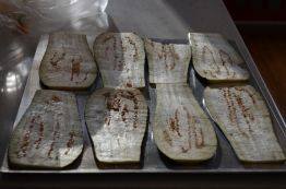Step 1 is to prepare the eggplant. I did this a day in advance to reduce the day-of prep time
