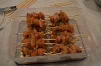 put the chicken on skewers and freeze. Pull it out the morning-of and bake according to the recipe!