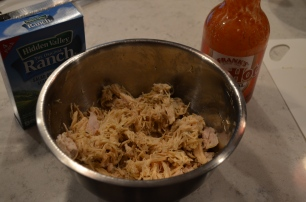 Bake then fill with shredded chicken, buffalo sauce, and ranch dressing mix