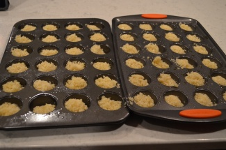 put in the bottom of mini cupcake pans (sprayed well)