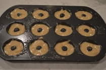 I used a mini donut pan, don't over-fill or you lose the hole!